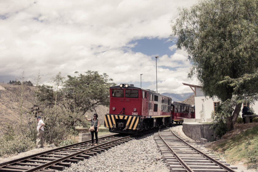 The Tren de la Libertad in Ecuador stops at Hoja Blanca for snacks and photo ops.