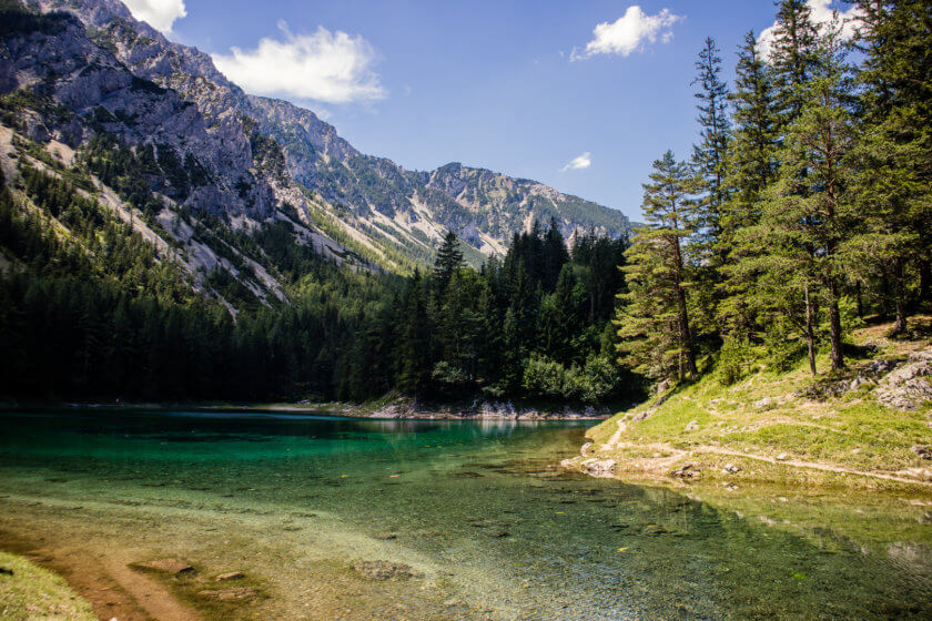 The crystal clear Grüner See or Green Lake in Austria.