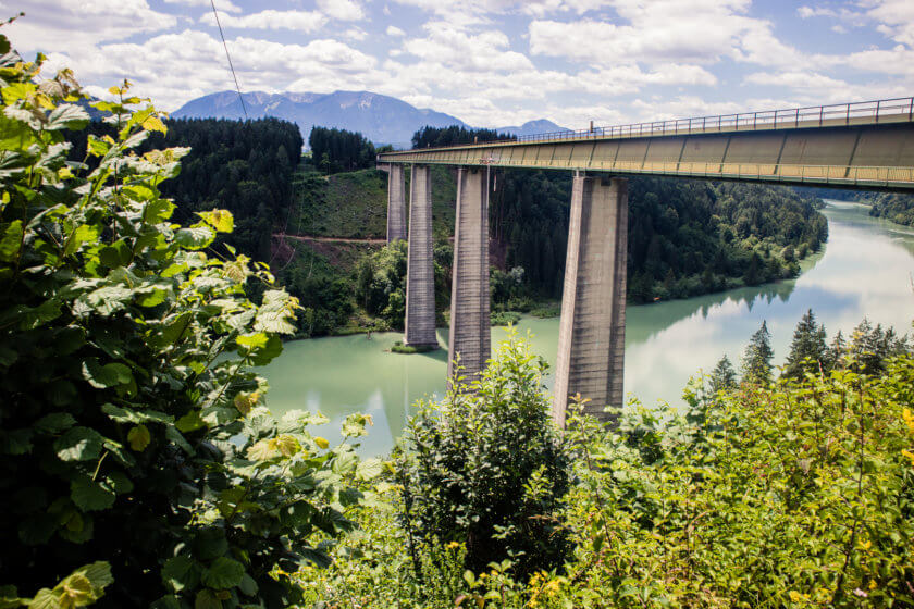 Jauntal bridge abve the river Drau in Austria.