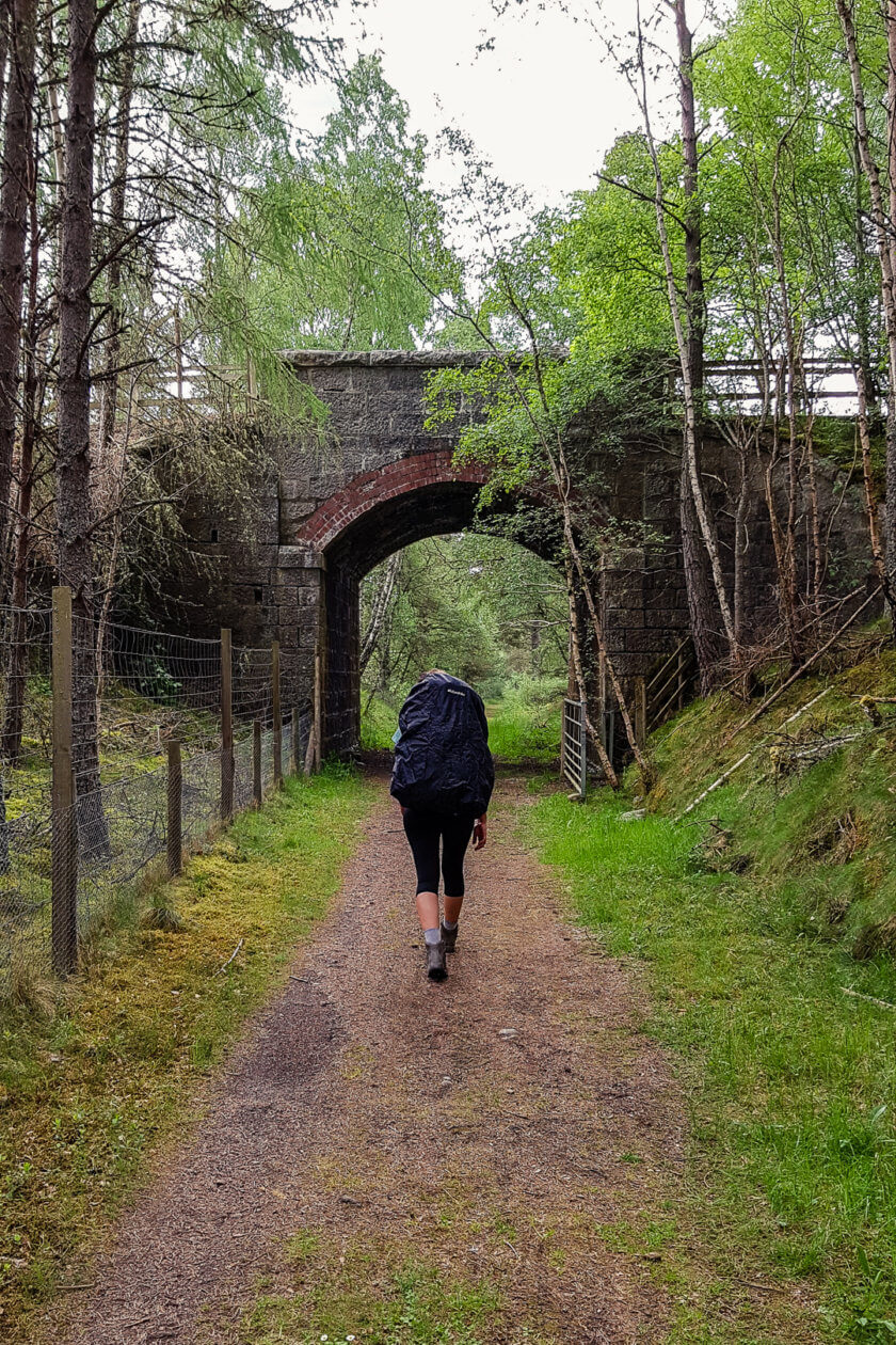 Hiking with a big backpack in Scotland.