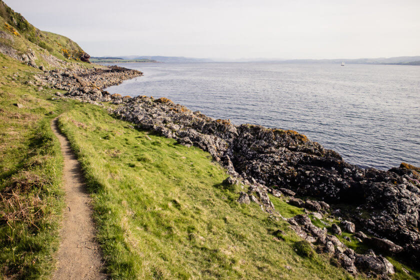 Solo hiking on the Isle of Bute in Scotland.