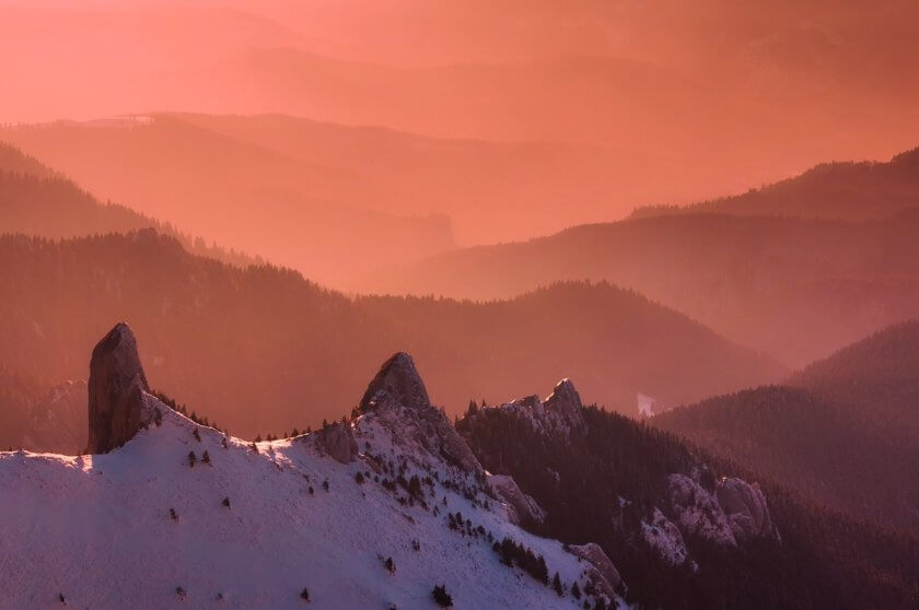 sunrise over romanian mountains