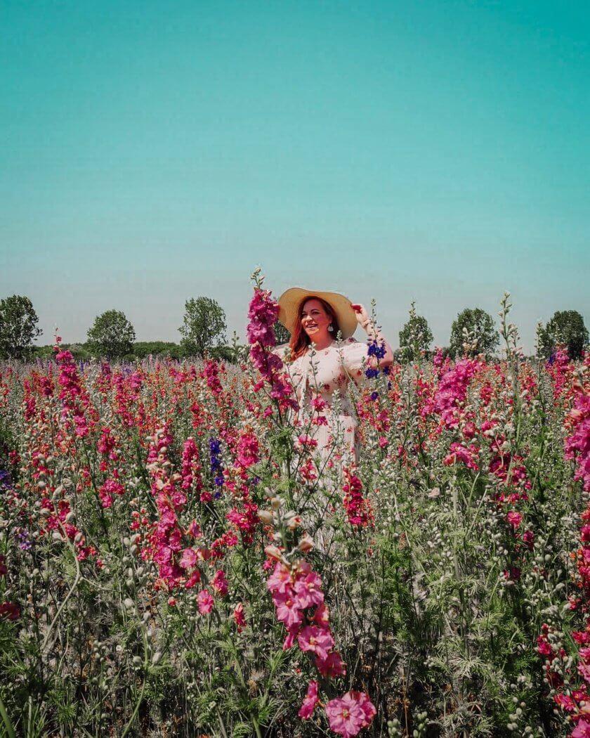 smiling in fields of flowers