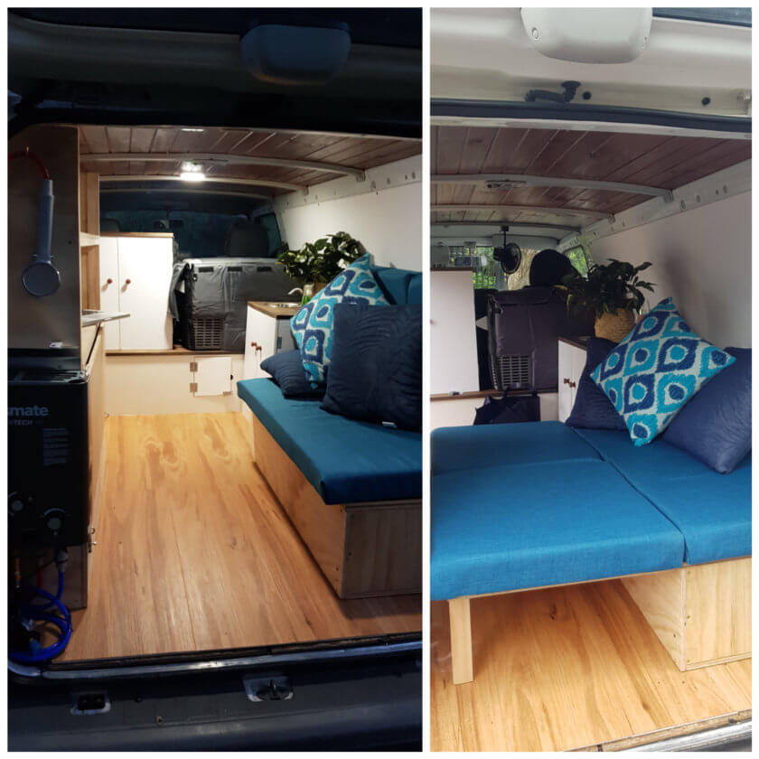 interior of small campervan with day bed
